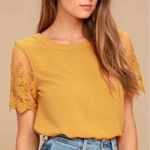 Lulus Lisa Marie Mustard Yellow Embroidered Top